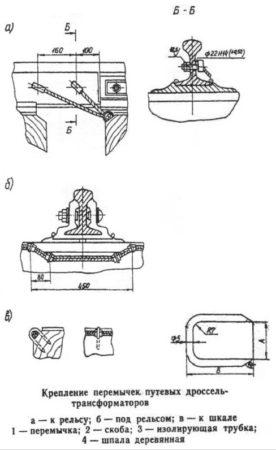 Крепление перемычек путевых дроссель-трансформаторов к деревянным шпалам