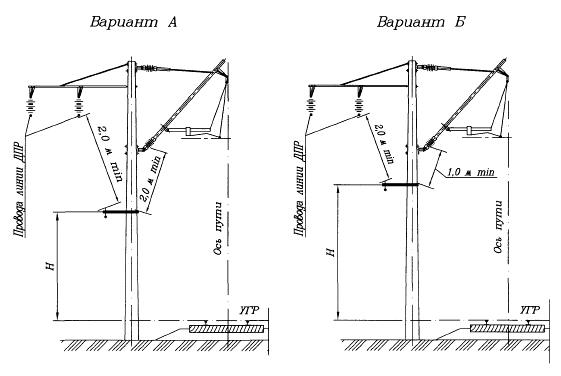 Варианты схем подвески на участках переменного тока при изолированных консолях