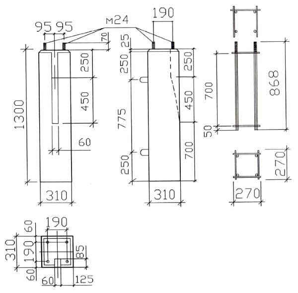 Габаритные размеры фундамента ПС 31-130